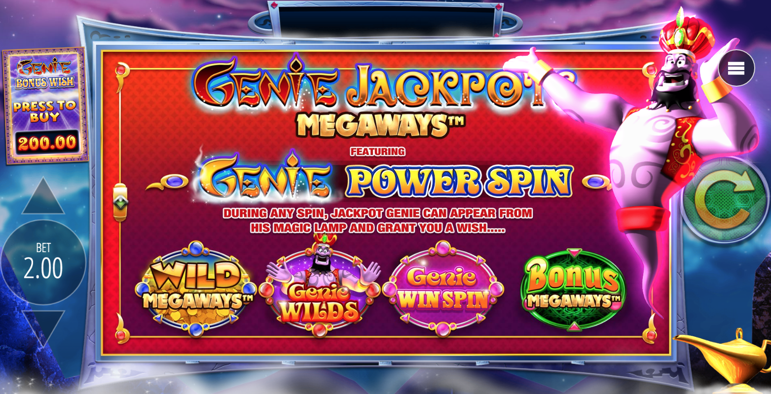 genie jackpots megaways opening screen