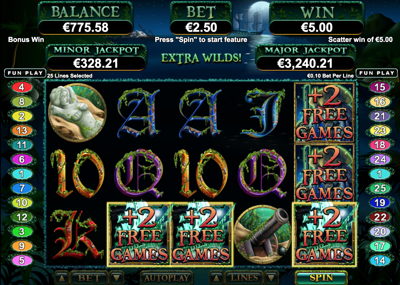 ghost ship slot free spins