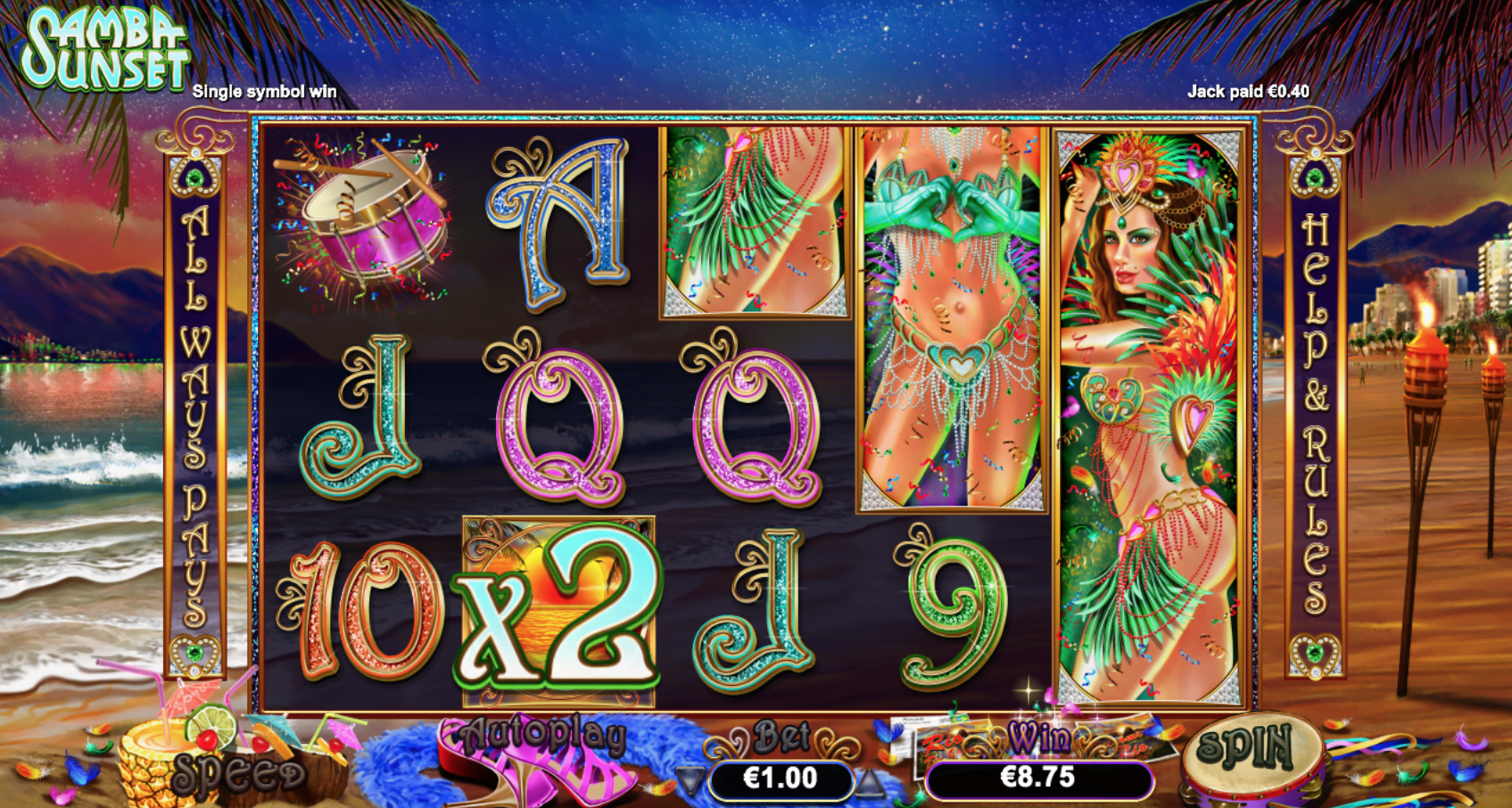 samba sunset free spins