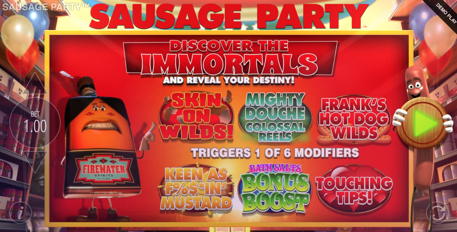 sauasage party slot bonuses