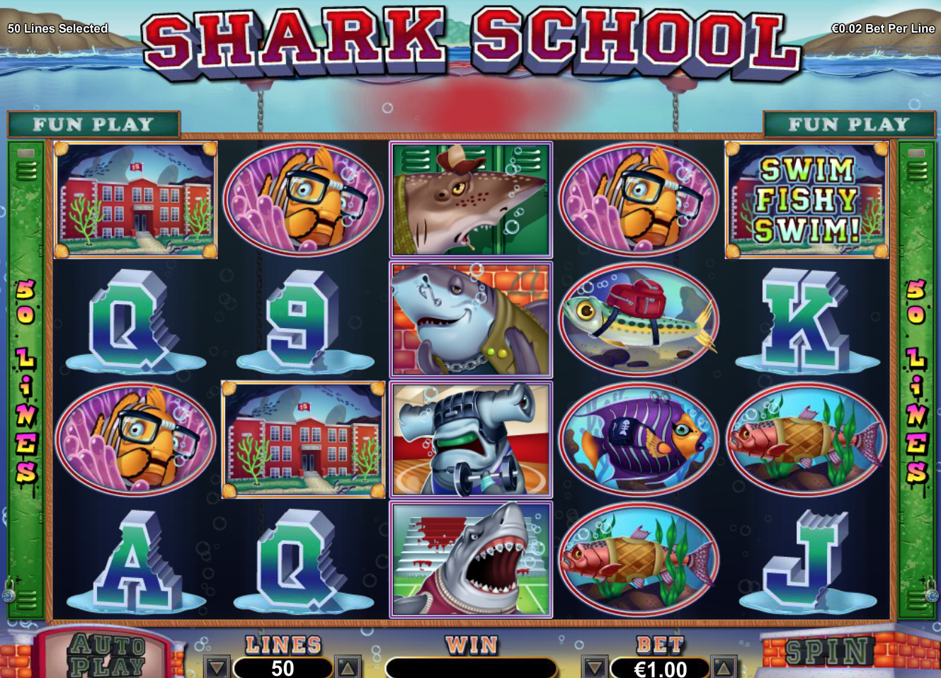 shark school free spins feature